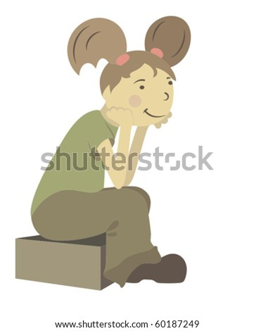 illustration girl seated on a