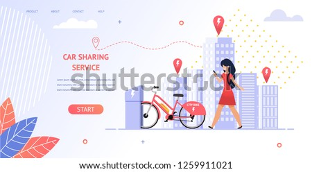 Illustration Girl Student Rent an Electric Bike. Banner Vector Young Girl Uses Mobile Application Car Sharing Service. Coming Location Parking Bike Standing on Charge. Transport Travel in City