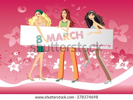 Illustration girl with an inscription Happy Women's Day - vector