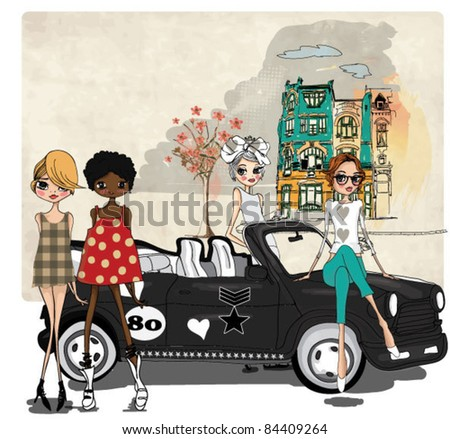 illustration girls with a black car