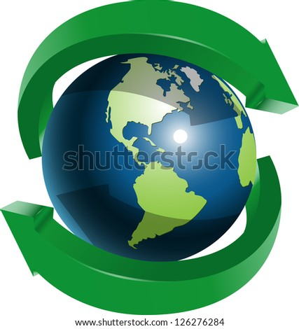 illustration globe and two green arrows around - stock vector