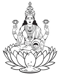 Illustration goddess holy Lakshmi. Hindu goddess sitting in lotus flower. Religious symbol of Buddhism. Yoga. Vector illustration of god on a white background.