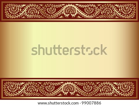 illustration gold(en) background with band of the vegetable pattern