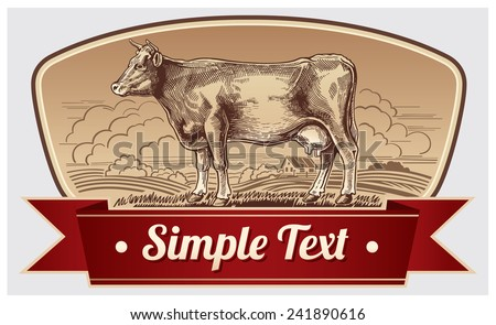 illustration graphic cow in a landscape.