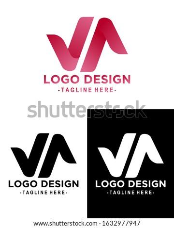 illustration graphic of logo design, latter logo v&a, great for logo company/brand Stock fotó ©