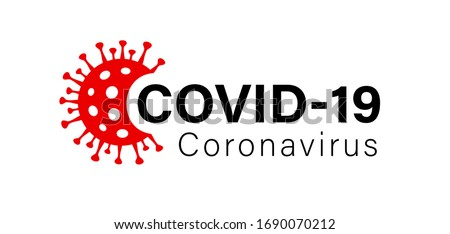Illustration graphic vector of corona virus in wuhan, coronavirus infection. 2019-nvoc virus. Corona virus logo microbe, outbreak Covid-19 sign with viral cell red color