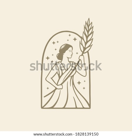 Illustration greek goddess in ancient Roman religion and myth hold wheat. Beer ,bakery or beauty logo design template Stock fotó ©