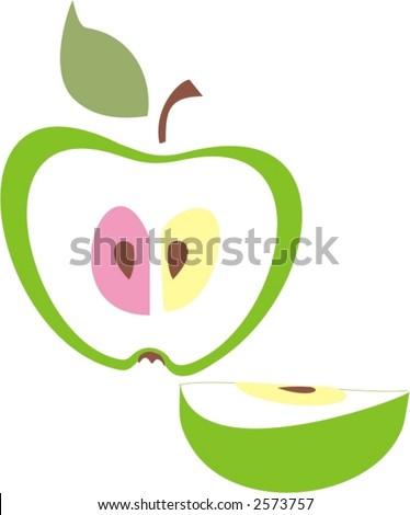 illustration  green apple logo
