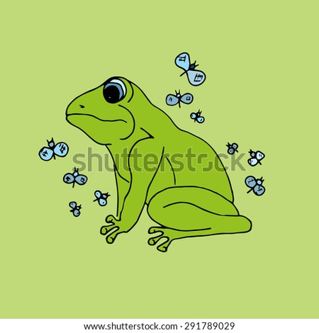 illustration green frog with