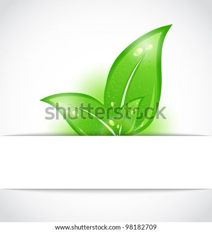 Illustration green leaves sticking out of the cut paper - vector