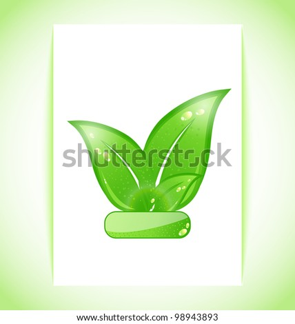 Illustration green nature leaves on sheet - vector