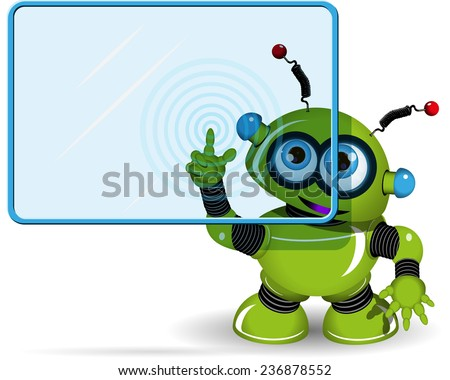 illustration green robot with a