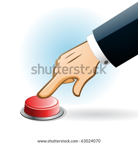 illustration hand pressing red button