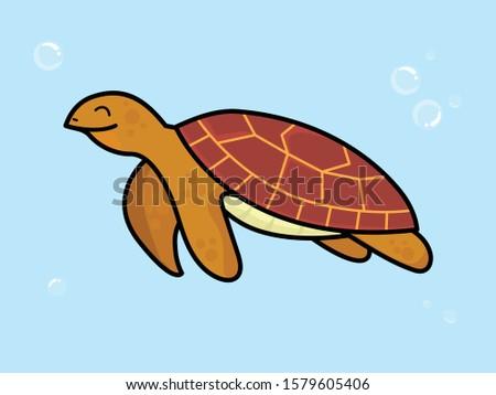 illustration happy turtle