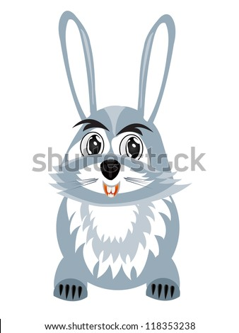 Illustration hare on white background is insulated