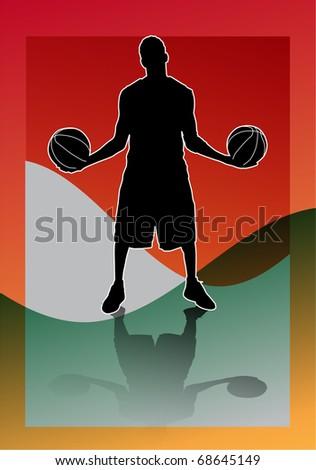 illustration has more than enough bottom orange, of man playing basketball