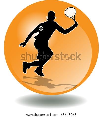 illustration has more than enough bottom orange, of man playing tennis