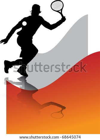 illustration has more than enough bottom orange, of man playing tennis