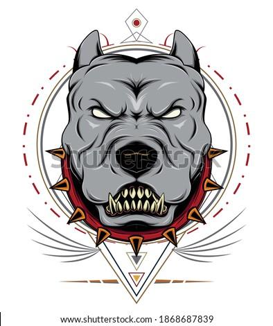 Illustration head ferocious bulldog mascot, on geometry ornament Stock photo ©