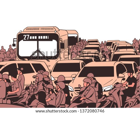 Illustration if busy rush hour traffic with motorcycles, cars, buses, public transport