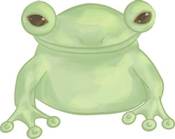 illustration image of a small frog light green delicate tones amphibian