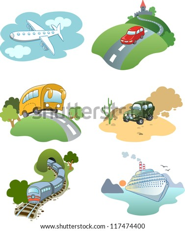 Illustration in a cartoon style set of 6 images of various kinds of vehicles