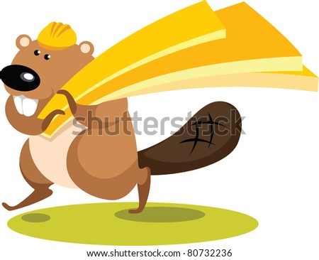 Illustration in cartoon style - Beaver with planks on white background