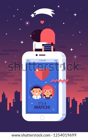 Illustration in flat style with cute characters. A couple in love sitting on a big smartphone with a dating app. City, sunset and a shooting star on background. Love, relationship, romance.