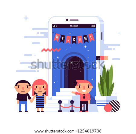 Illustration in flat style with cute characters. A couple near a large smartphone with an open door and the sign