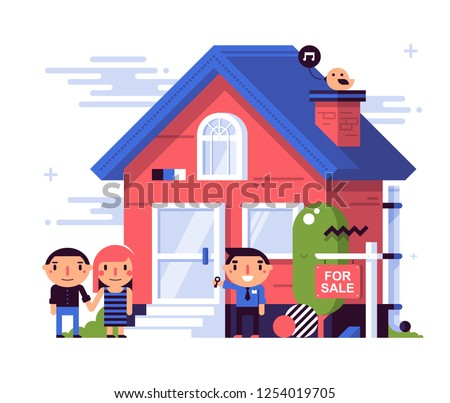 Illustration in flat style with cute characters. A young couple watching a house for a purchase. Satisfied agent pulls them the key. Red plate