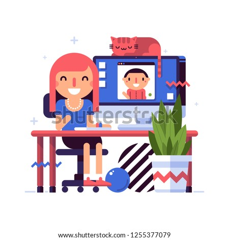 Illustration in flat style with cute characters. Young beautiful girl takes a video call from a man. Relationship, communication.