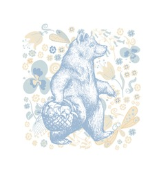 Illustration in graphic style with the cartoon walking bear on a floral ornamental background. Side view bear wearing t-shirt with the basket full of fruits and Flowers and Floral Background. Vector G
