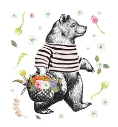 Illustration in graphic style with the walking bear. Side view bear wearing t-shirt with the basket full of fruits and Flowers and Floral Background. Vector Grunge Print.