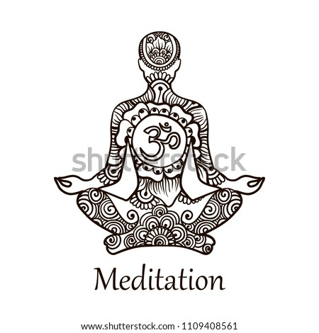 stock-vector-illustration-in-linear-engraving-style-a-man-of-meditation-with-symbol-om-symbol-of-buddhism