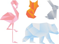 illustration in origami style, low polly. Gradient. Flamingo, hare, bear, fox. Can be used in web design, printing, banner, clothing print.