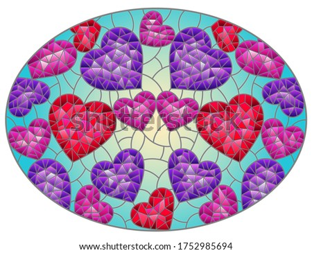 Illustration in stained glass style, abstract background with hearts on blue background, oval image