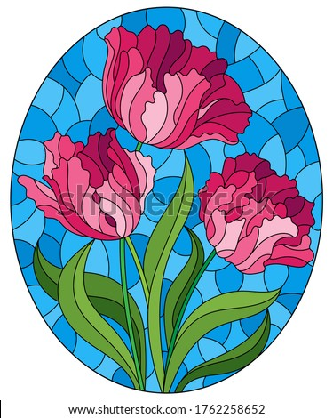 Illustration in stained glass style with a bouquet of pink tulips on a blue background, oval image