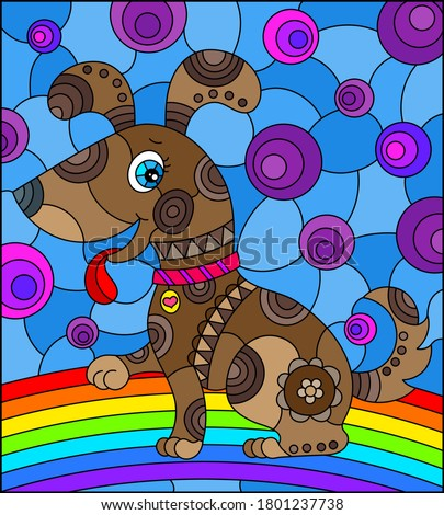 Illustration in stained glass style with abstract cute ,brown dog on a sky background with rainbow  ストックフォト ©