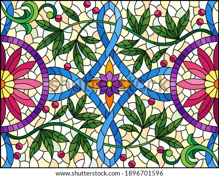 Illustration in stained glass style with abstract flowers, leaves and curls on a yellow background, rectangular horizontal image Stock photo ©