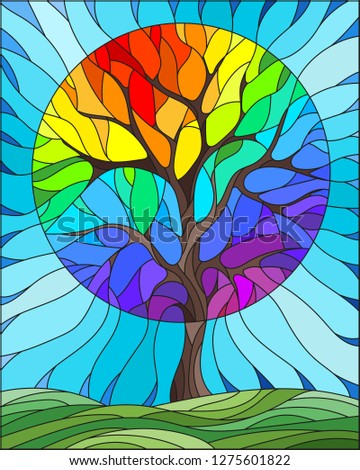 Illustration in stained glass style with abstract rainbow tree, meadow and sky background #1275601822