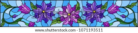 Illustration in stained glass style with flowers, leaves and buds of purple flowers on a blue background, symmetrical image, horizontal orientation