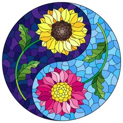 Illustration in stained glass style with sunflower and Aster flowers in the form of a Yin Yang sign on a blue background, round image