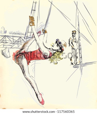 Illustration In Vintage Style Of A Gymnastics And Circus