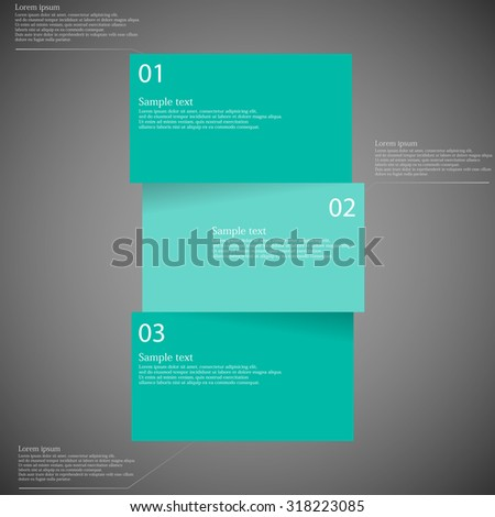 Illustration infographic template on dark background with shape of bar which is divided to three green blue parts with shadows and with space for customer\'s text.