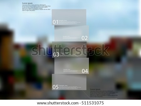 Illustration infographic template with shape of bar. Square item divided to five parts with semi transparent grey color with signs and text. Blurred photo of street with crossroad used as background.