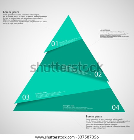 Illustration infographic template with triangle motif cut on four parts with space for own text and with unique number. Color is blue and background is light.