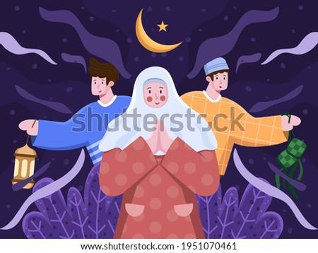 Illustration islamic people greeting happy eid al mubarak or eid al fitr with muslim woman and man. Cute cartoon illustration of ramadan eid al fitr mubarak. suitable for invitation, greeting card,etc