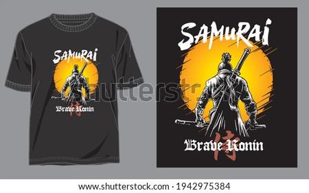 illustration japan samurai vector for design t shirt concept