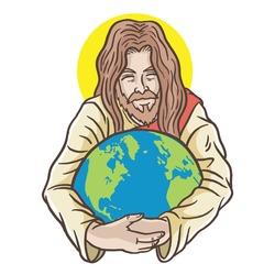 Illustration Jesus hugging a globe