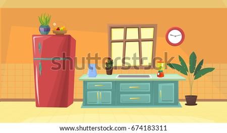 illustration kitchen / vector kitchen / cartoon kitchen